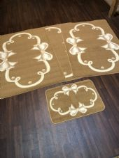 ROMANY GYPSY WASHABLE MATS FULL SET OF 4 MATS/RUGS X LARGE 100X140CM BOWS BEIGE